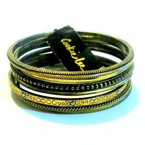 Cookie Lee Set of 7 Brass Tone Bangle Bracelets NWT